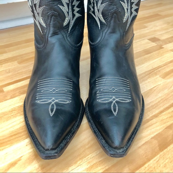 Tony Lama Shoes - Tony Lama-black leather cowboy boots